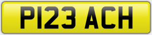 P123 ACH CHERISHED NUMBER PLATE