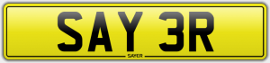 sayer cherished number plate