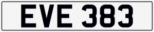 Eve cherished number plate EVE 393