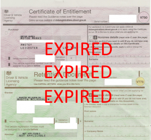 Example of V778 Retention Document and example of V750 Certificate of Entitlement