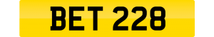 bet number plate BET 228