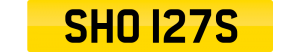 shorts number plate SHO 127S